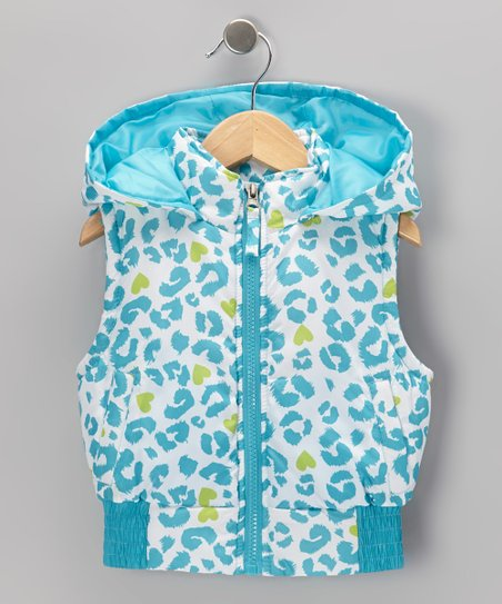 Turquoise Leopard Hooded Vest - Toddler & Girls