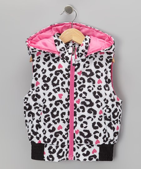 Black & Pink Leopard Hooded Vest - Girls