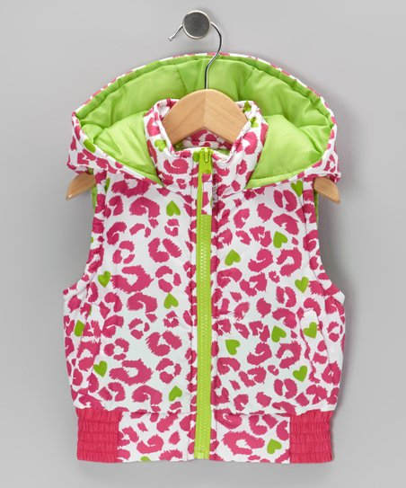 Fuchsia Leopard Hooded Vest - Girls