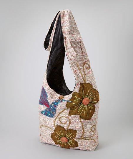 Green & Tan Flower Shoulder Bag