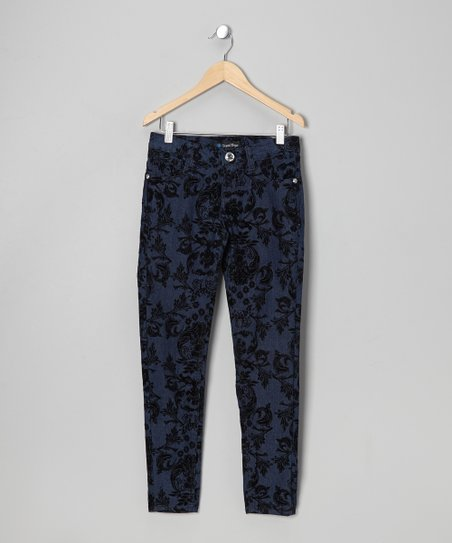 Blue Toile Denim Jeans - Girls