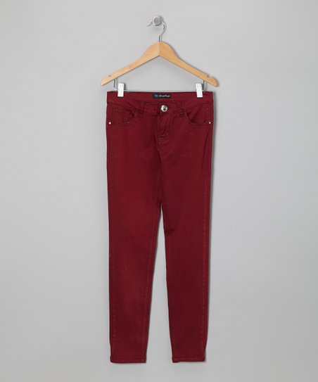 Burgundy Twill Jeans - Toddler & Girls