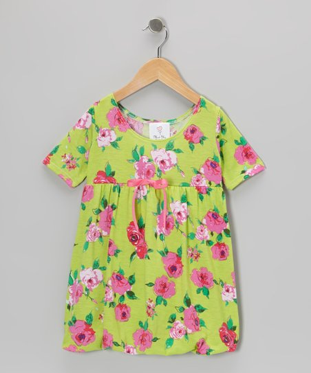 Green Preppy Roses Babydoll Dress - Infant & Toddler