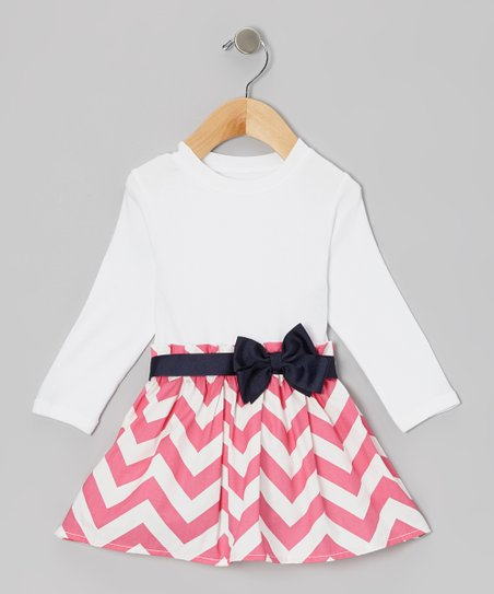 White & Pink Zigzag Bow Dress - Infant & Toddler