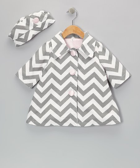 Gray Zigzag Coat & Hat - Infant & Toddler