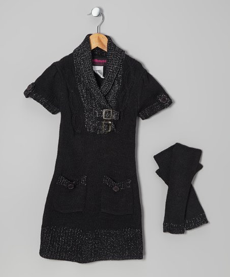 Black Buckle Sweater Dress & Arm Warmers - Toddler & Girls