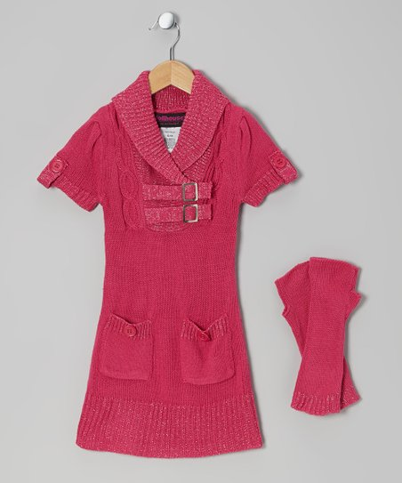 Fuchsia Buckle Sweater Dress & Arm Warmers - Toddler