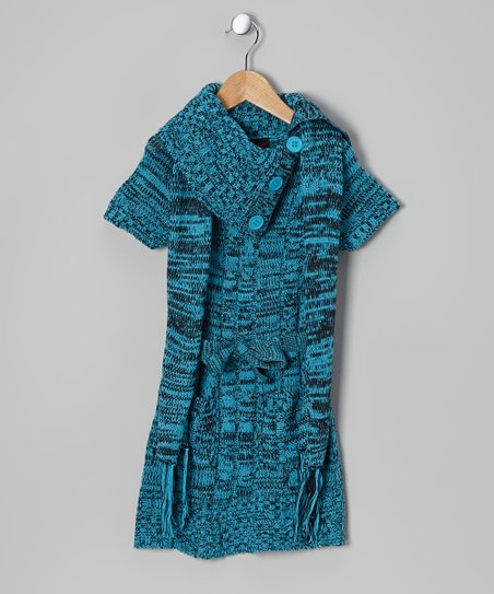 Blue Split-Neck Sweater Dress & Scarf - Girls
