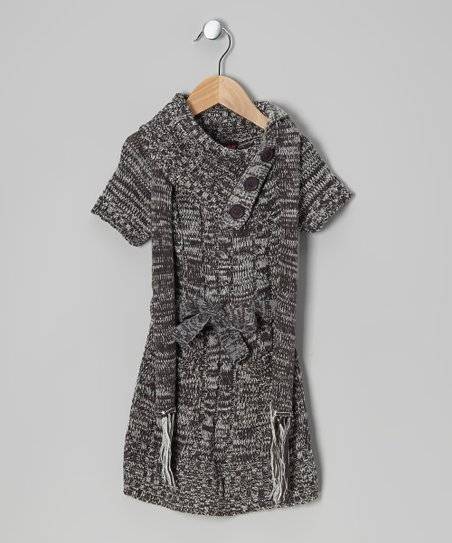 Gray Split-Neck Sweater Dress & Scarf - Girls