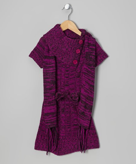 Plum Split-Neck Sweater Dress & Scarf - Girls