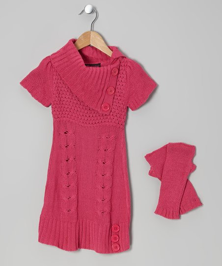 Pink Cable-Knit Split-Neck Sweater Dress & Arm Warmers - Girls
