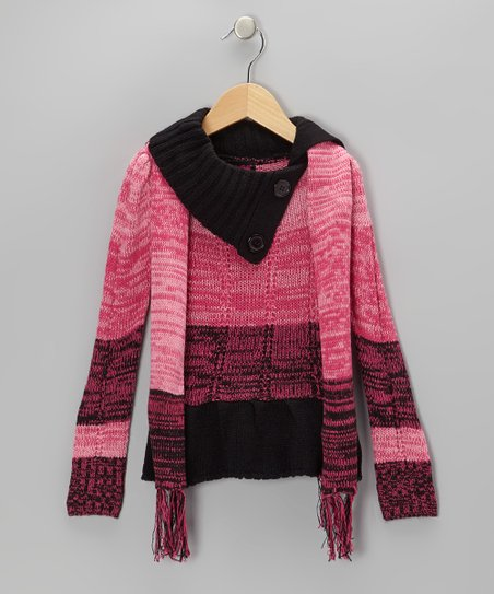 Fuchsia & Black Split-Neck Sweater & Scarf - Girls