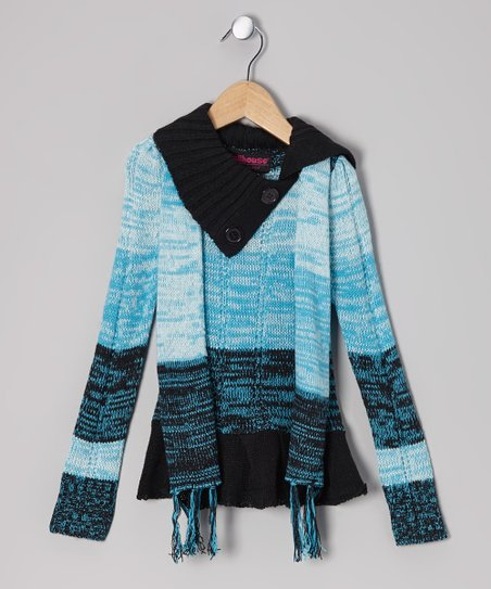Blue & Black Split-Neck Sweater & Scarf - Girls
