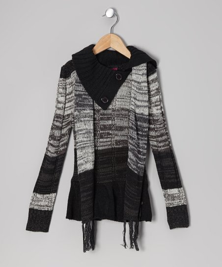 Gray & Black Split-Neck Sweater & Scarf - Girls
