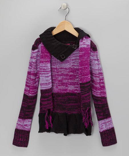 Purple & Black Split-Neck Sweater & Scarf - Girls