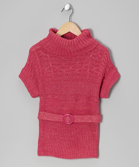 Pink Sparkle Belted Cowl Neck Sweater - Toddler & Girls