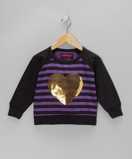 Purple Sequin Heart Raglan Top - Girls