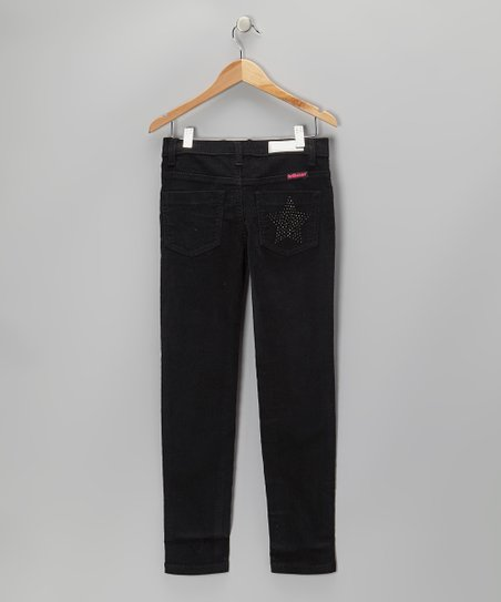 Black Rhinestone Star Corduroy Pants - Girls