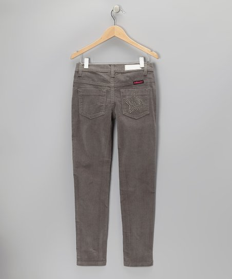 Gray Rhinestone Star Corduroy Pants - Girls