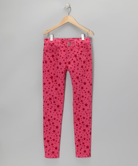 Fuchsia Star Corduroy Pants - Girls