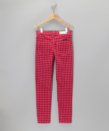 Magenta Houndstooth Corduroy Pants - Girls