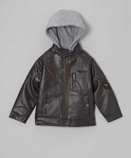 Brown Faux Leather Hooded Bomber Jacket - Boys