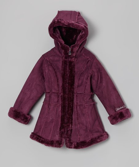 Plum Faux Shearling Jacket - Girls