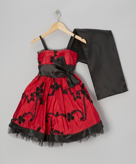 Red Bow Dress & Black Shawl - Girls