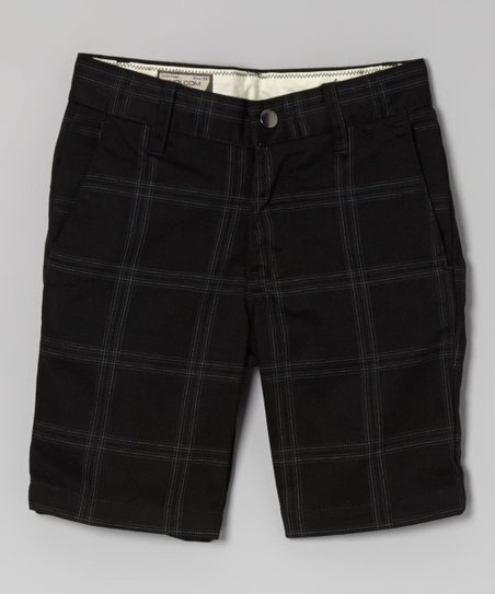 Charcoal Plaid Shorts - Boys