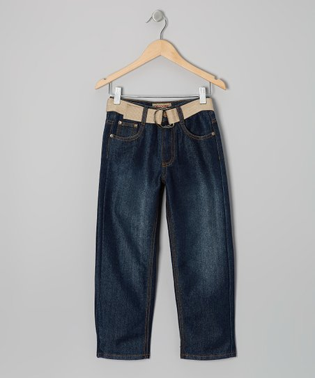 Medium Wash & Ivory Embroidered Belted Jeans - Boys