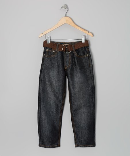 Black & Brown Embroidered Belted Jeans - Boys