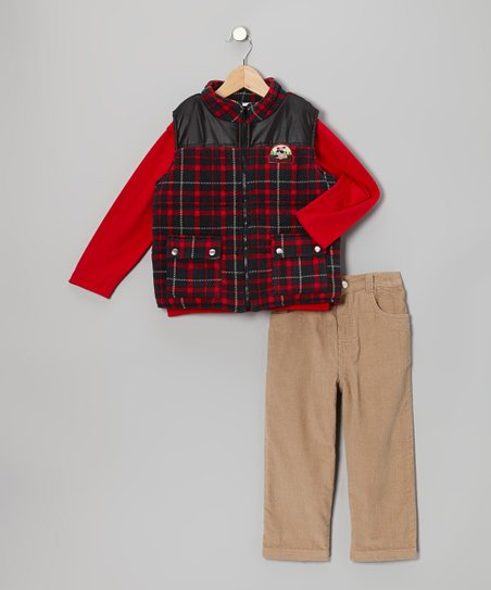 Red Plaid Vest Set - Toddler