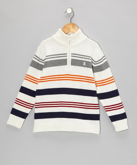 Cream & Navy Stripe Pullover - Boys