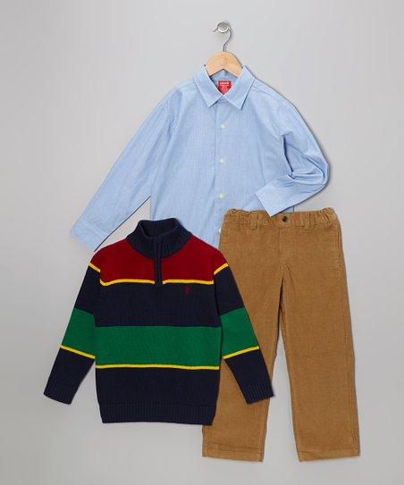 Peacoat Stripe Pullover Set - Boys