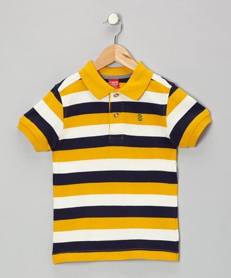 Gold Stripe Piqué Polo - Boys