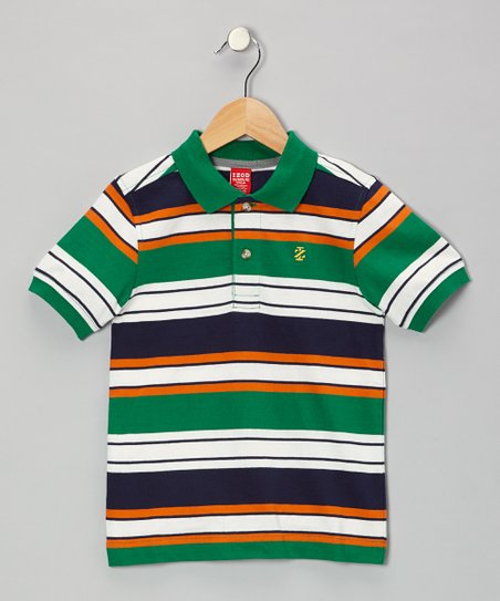 Green Stripe Piqué Polo - Boys