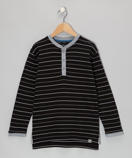 Black Stripe Henley - Toddler