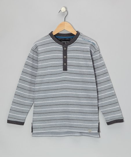 Silver Stripe Henley - Toddler & Boys