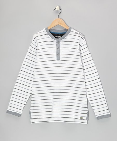 White Stripe Henley - Toddler & Boys