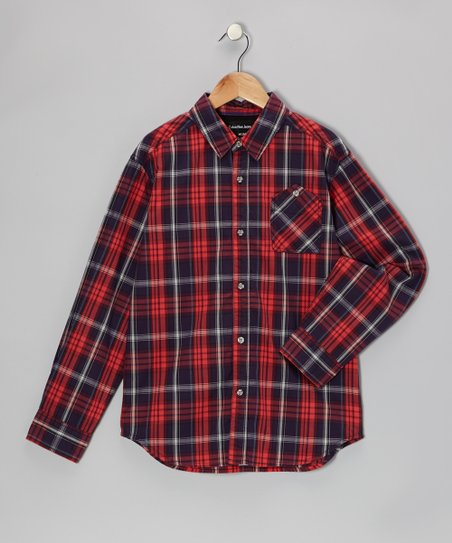 Rosy Red Plaid Button-Up - Toddler