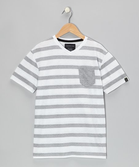 White Stripe V-Neck Tee - Infant