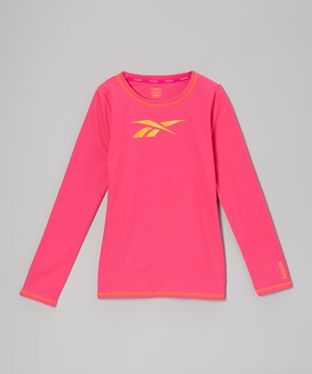 Hot Pink Mesh Long-Sleeve Top
