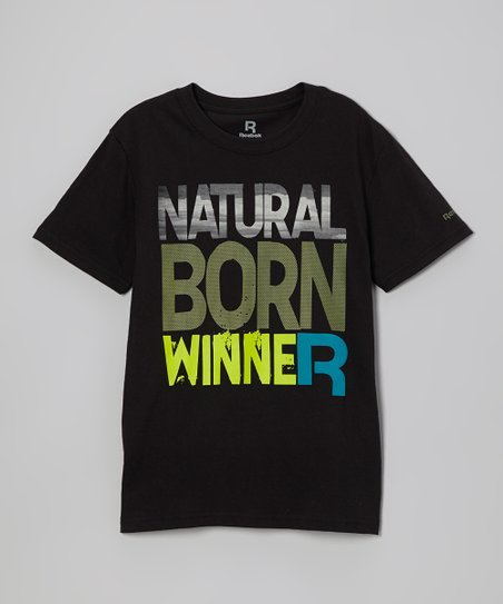 Black 'Natural Born Winner' Tee - Boys