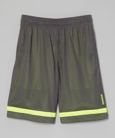 Gray & Neon Yellow Synthetic Shorts - Boys