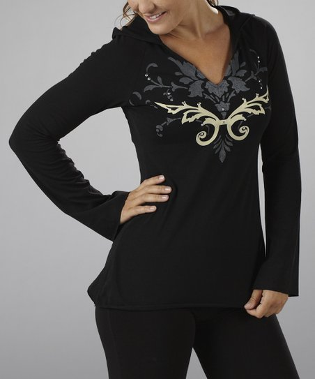 Black & Taupe Flocked Hooded Top
