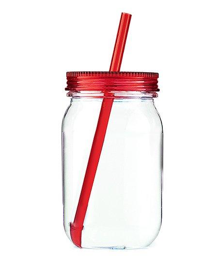 Red Acrylic Mason Jar Tumbler