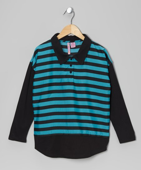 Turquoise Stripe Chiffon Polo - Girls