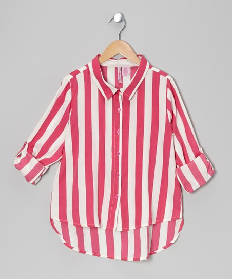 Fuchsia Stripe Hi-Low Button-Up