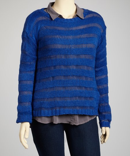 Royal Blue Sheer Stripe Sweater - Plus