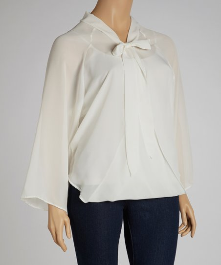 Ivory Tie-Neck Chiffon Top - Plus